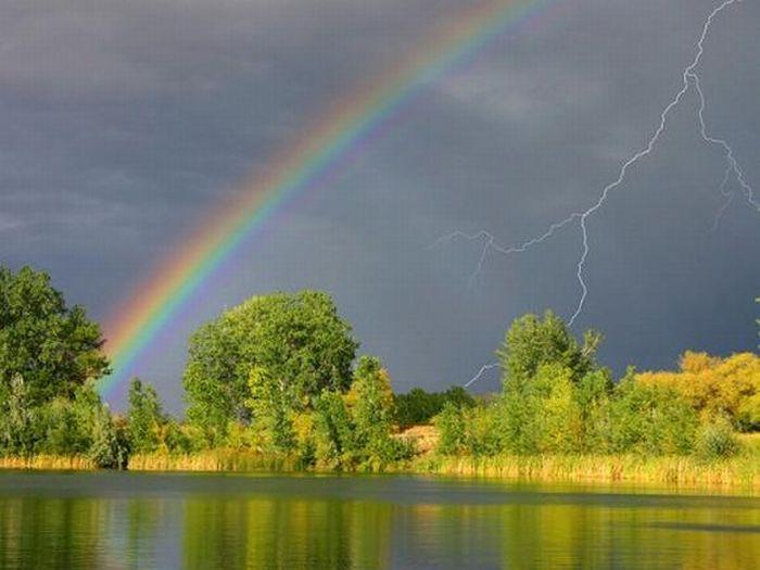 Атмосферные явления — облака, туман, дождь, радуга