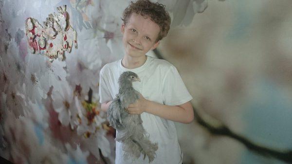 Андрей держит цыпленка