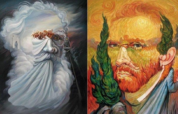 Картины, на которые нужно взглянуть дважды: оптические иллюзии от украинского художника
